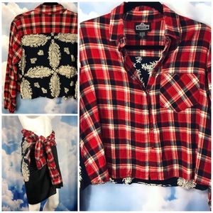 Angie Plaid Flannel and Bandana Contrast Shirt
